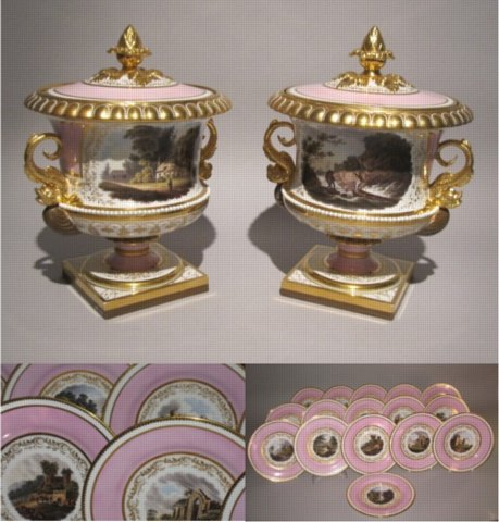 A PAIR OF IMPORTANT WORCESTER (BARR, FLIGHT & BARR) FRUIT COOLERS & SIXTEEN DESSERT PLATES. CIRCA 1813. - Click to enlarge and for full details.