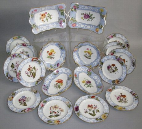 SPODE Botanical Dessert Service. Pattern 2004, circa 1815. - Click to enlarge and for full details.