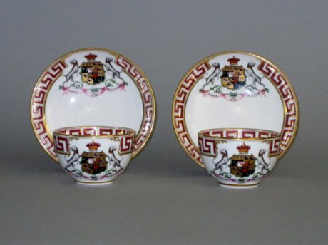 COALPORT ARMORIAL CUPS & SAUCERS, CIRCA 1825. - Click to enlarge and for full details.