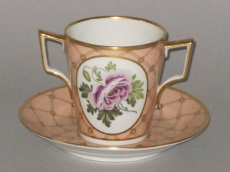 FLIGHT & BARR WORCESTER CHOCOLATE CUP & SAUCER. CIRCA 1792-1804 - Click to enlarge and for full details.