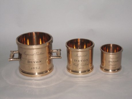 SET OF THREE IMPERIAL MEASURES, DEVON 1825 - Click to enlarge and for full details.