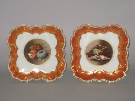 PAIR BARR FLIGHT & BARR WORCESTER DESSERT DISHES - Click to enlarge and for full details.