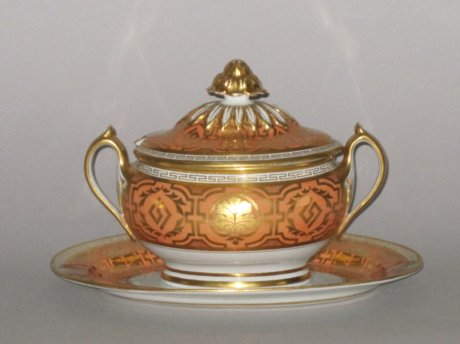 FLIGHT BARR FLIGHTWORCESTER SAUCE TUREEN COVER & STAND, CIRCA 1815 - Click to enlarge and for full details.