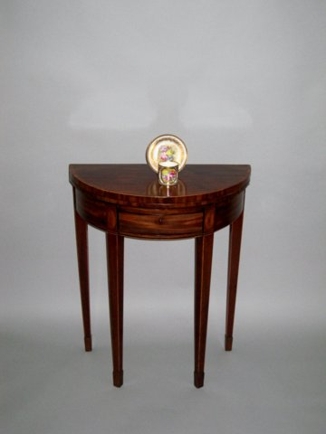 RARE SMALL DEMI-LUNE TEA TABLE, CIRCA 1800 - Click to enlarge and for full details.
