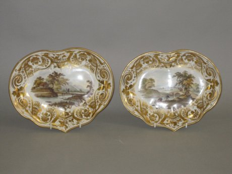 PAIR DERBY PORCELAIN DESSERT DISHES. CIRCA 1815 - Click to enlarge and for full details.