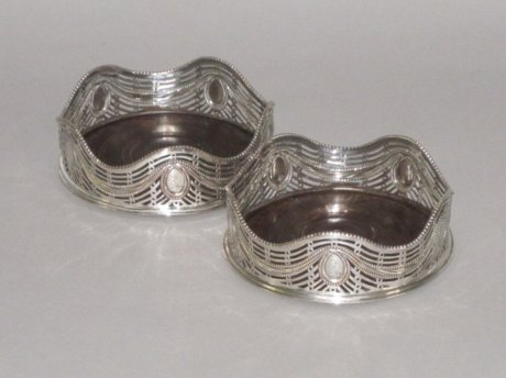 PAIR OLD SHEFFIELD PLATE SILVER WINE COASTERS. CIRCA 1775 - Click to enlarge and for full details.