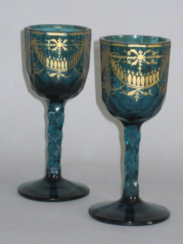 PAIR 18TH CENTURY GREEN GLASS STEM GOBLETS. CIRCA 1775 - Click to enlarge and for full details.