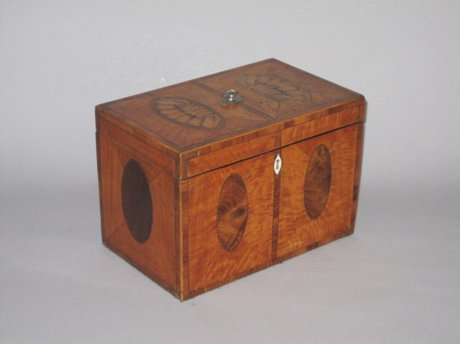 SATINWOOD & VENEERED TEA CADDY. CIRCA 1790 - Click to enlarge and for full details.