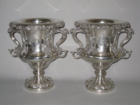 PAIR OLD SHEFFIELD PLATE SILVER WINE COOLERS. CIRCA 11830 - Click to enlarge and for full details.