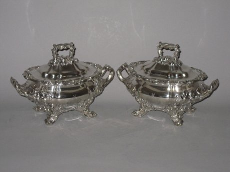 PAIR REGENCY OLD SHEFFIELD PLATE SILVER SAUCE TUREENS. - Click to enlarge and for full details.
