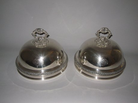 PAIR OLD SHEFFIELD PLATE SILVER DISH COVERS. CIRCA 1820. - Click to enlarge and for full details.