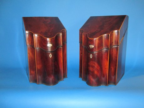 PAIR OF MAHOGANY KNIFE BOXES. GEORGE III, CIRCA 1790. - Click to enlarge and for full details.