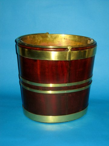 OVAL MAHOGANY & BRASS BUCKET. CIRCA 1800 - Click to enlarge and for full details.